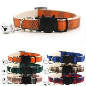 Renkli Izgara Pet Yaka Bell Kedi Yüz Emniyet Toka Ayarlanabilir Pet Köpek Kedi Kolye Boyun Askılı Köpek Kedi Besleme VT1575 Kurşun