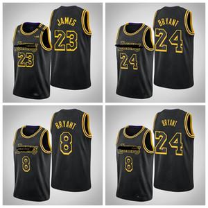 Los AngelesLakersKobeBryantLebronJamesAnthonyDavisMEN Black Mamba StadtNBA-Basketball-Jersey