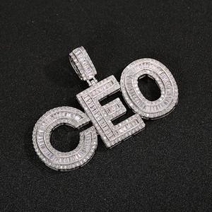 Nombre personalizado Baguettes Letras Colgante con cadena de cuerda libre oro plateado plateado zirconia hombres hip hop colgante joyería