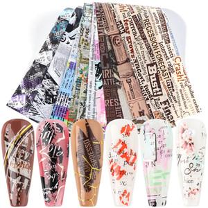 10pcs jornal Retro Transferência Nail Art folhas Flor Letras etiquetas do prego voltas completas Decalques Manicure Detalhes no TR1565-1