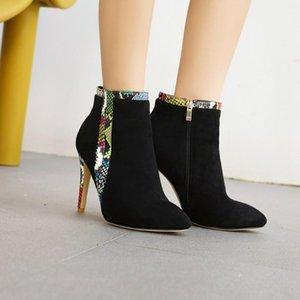 US4-13 Womens Pointy Toe Snake Pattern Flock Ankle Boots Stilettos High Heel Shoes Warm Winter Styles Punk Side Zip Plus Size