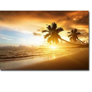 NICOLESHENTING Sunset - Tropical Beach Ocean Sea Art İpek Kumaş Poster Baskı 13x20 24x36 Plam Ağacı Manzara Duvar Resimleri 003