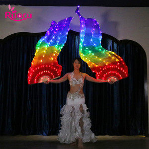 Casa 90 * 180cm luminoso Rainbow Light Fan LED Veils Bellydance Oriental Belly Dance seta Fan Veil per Costumi donne danzante