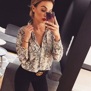 New 2020 Women Summer Leopard Print Long Sleeve Button V Neck Snake Skin Shirt Casual Blouse Tops