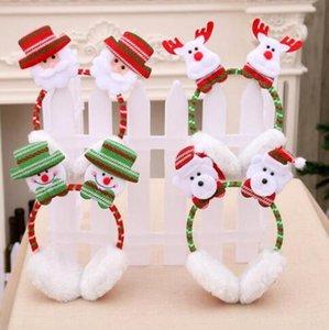 Рождество Симпатичного Earmuffs зима уха Keep Warm Cotton Ear Muffs 3D Сант снеговик Reindeer Printed Праздник партия Галстуки Шляпа WY195