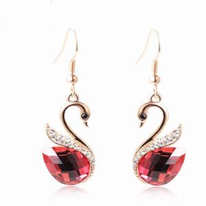 Yükseltme Swan Patlama Küpe Kadın Moda Takı hediyeler Kırmızı Swan kolye Küpe Gümüş Needle Drop Küpeler