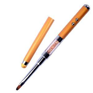 High Quality Rhinestone design Multi functional nail art pen drawing pen polish UV Gel brush with led light
