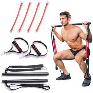 Portable Pilates Bar Resistance Band Yoga Pilates Stick Home Gym Yoga Exercise Fitness Bar with Workout Equipment Training Kit