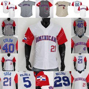 Jersey de béisbol dominicano Albert Pujols David Ortiz Pedro Martinez Vladimir Guerrero Ramírez Adrian Beltre Sammy Sosa Sosa Bartolo Colón