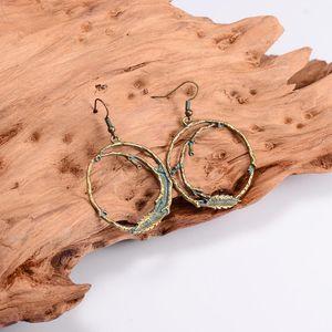 2020 Newest Big Round Drop Earrings For Women Geometric Bronze Branch Design Fashion Earring Female Boho Jewelry