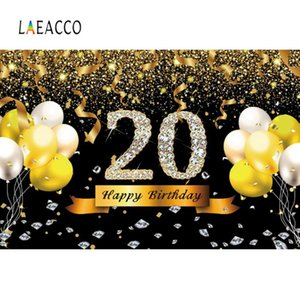 Laeacco Golden Balloons Birthday 30 40 50 60th Birthday Party Celebration Poster Portrait Photo Background Photography Backdrops