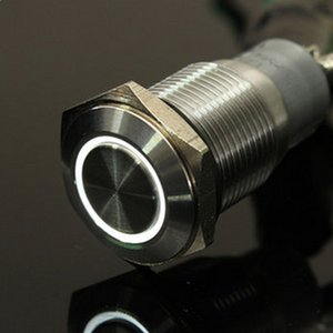 12V 16mm Melek Göz Metal Push Button Switch Araç Dash Anlık Anahtarı LED ışığının yanması