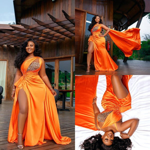 2020 Arabic Aso Ebi Evening Dresses Plus Size One Shoulder High Split Prom Gowns with Wrap Elegant Party Second Reception Dress