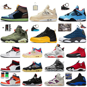 nike air retro jordan 1 off white sail 4 travis scott 6 university gold 12 flint 13 14 gym red tênis de basquete masculino feminino de salto alto OG