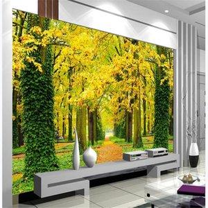 Fondo de pantalla 3D estereoscópica espacio 3D bosque de oro fondos de pantalla de pared televisión de fondo hermoso paisaje fondos de pantalla