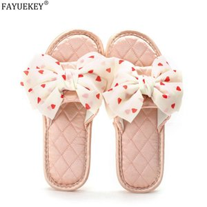 FAYUEKEY New Women Slippers Summer Indoor Shoes Home Flax Slippers Polka Dot Bow Ladies Casual Flat Slides Female Flip Flop