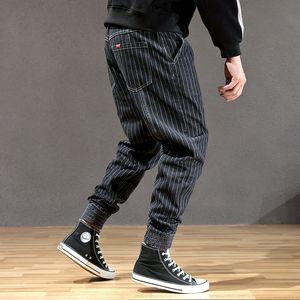 Japanese Style Fashion Men Jeans Stripe Designer Loose Fit Cargo Pants hombre Slack Bottom Streetwear Hip Hop Joggers Jeans Men