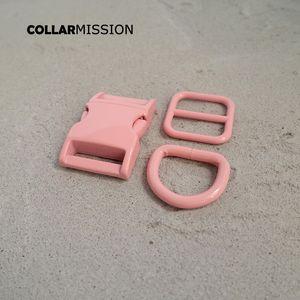Розничная торговля (металлическая пряжка + регулировка пряжки + D кольцо / комплект) DIY ошейник розовых 20ммы тканого швейное аксессуар спрей краска пряжка набора