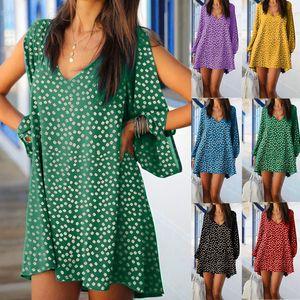 Sexy V-Neck Off Shoulder Mini Dress Women Elegant Long Sleeve A-Line Party Dress Autumn Casual Floral Print Beach Vestidos22