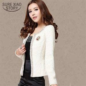 2020 New Women Autumn-Winter coat short design Elegant Beaded Diamond slim Long sleeve Plus size Small Outerwear jacket 661B