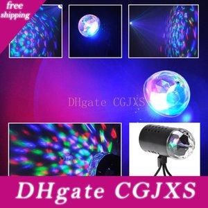 Eu Us 220v 110v 3w Full Color Led Crystal Voice -Activated Rotating Rgb Stage Light Dj Ktv Led Effects Disco Lamp Bulbs Auto Rotating