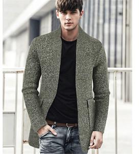 Para hombre de béisbol suéter de cuello abrigos otoño invierno delgado sólido de bolsillo Mediados color Longitud chaquetas de hombre de alta moda chaqueta de punto