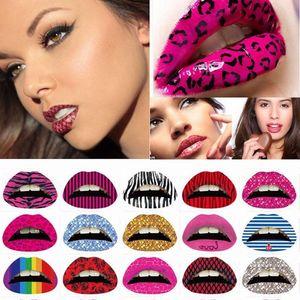 Lip Tattoo Стикеры Halloween Party Gift Сексуальные женщины Смешные наклейки для губ Преувеличены Сценический макияж исполнительского искусства Временные татуировки Sticke p5Bd #