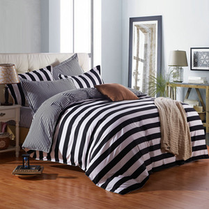 Black and white stripes king queen kids size soft comfortable cotton bedding set duvet cover bed sheet pillow cases-bedspread