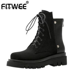 FITWEE Femmes court Bottes Patchwork Cuir véritable Femmes cheville Bottes Derbies d'hiver Chaussures Taille 34-41