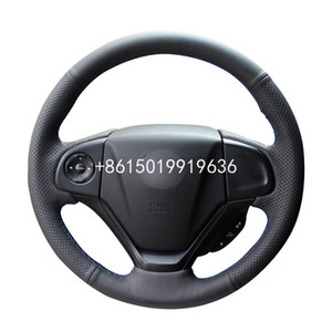 Honda CRV CRV 2012 2013 2014 2015 2016 Aksesuar için el dikişli Siyah Deri Araç Direksiyon Kapak