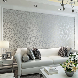 Silver 3D Victorian Damask Embossed Wallpaper Roll Home Decor Living Room Bedroom Wall Coverings Silver Floral Luxury Wall Paper