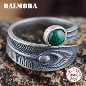 Anillos baratos Balmora reales 925 Retro Malaquita plumas Empilar los anillos abiertos para hombres, mujeres Pareja PunkElegant Fashion Bijoux