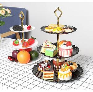 3 Nível de plástico Bolo Stand Holder Afternoon Tea Sobremesa Fruit Stand Nível Placa Wedding Party Três Layer Cake cremalheira Bakeware Abastecimento XD22646