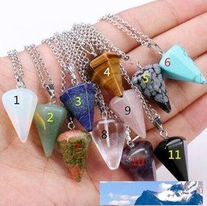 Natural Gem Stone Mini Hexagon Prism Reiki Pendulum Pendant Charms Healing Chakra Amulet Fashion Jewelry free shipping 263