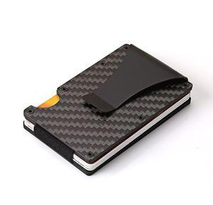 ألياف الكربون rfid الرجال trifold مصغرة محافظ سليم صغير رقيقة الحد الأدنى الذكية الذكور محفظة بطاقة الجيب المحافظ حقائب المال المحفظة