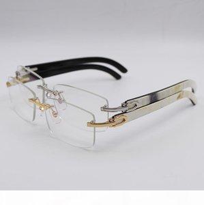 Buffalo Horn Glasses Gold Silver Rimless Optical Transparent Glasses Men Women Brand Designer Best Quality White Inside Black Buffalo Horn