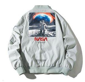 Diseñador de la NASA chaqueta de la ropa de vuelo como piloto hombres chaquetas otoño más tamaño treetwear capa de hip hop Bombardero cazadora de invierno caliente grueso de béisbol