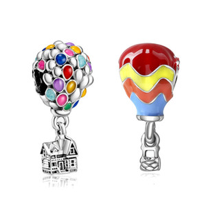 Colorful balloon house adapting pandora pendant charms bracelet diy bangle bead jewelry making for women gift