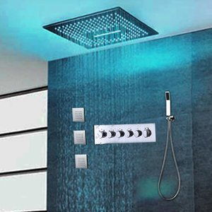 """Europe Popular Design high quality 16"""" square led electricity big rain shower head faucet set with handle spray 3 body jets thermostat valve"""