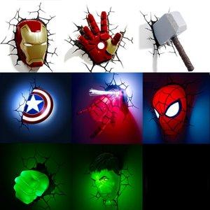 Marvel Мстители игрушки LED Тумбочка Спальня Гостиная 3D Креативный светильник стены, украшенные Light Night Light подарки для детей Мстители игрушки