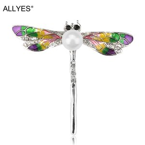 ALLYES Dragonfly Brooch Jewelry for Women Girls Crystal Enamel Alloy Clothes Collar Lapel Rhinestone Insect Pin Brooches