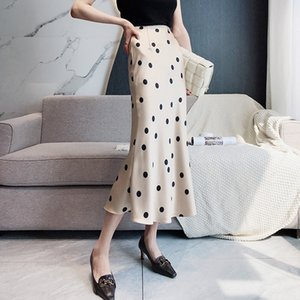 Fransız lightsmall puantiyeli ipeksi saten yüksek bel kalça uzun Silk etek elbise şampanya saten uzun etek bahar AfAqQ pre