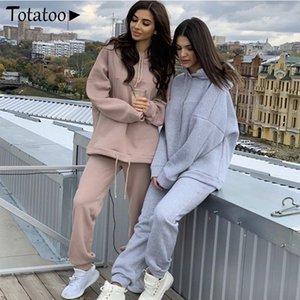 Autunno Inverno a maniche lunghe con cappuccio Sport Tuta Loose Women Oversize Camicie Tops + vestito di pantaloni a due pezzi Panno femminile