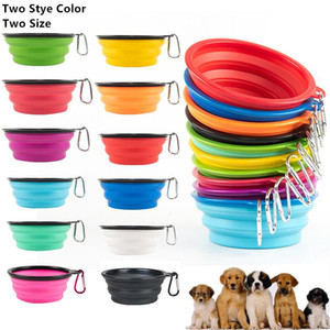 Dos Tamaño de silicona del estilo plegable Tazón para el perro ampliable Copa del plato por un animal doméstico del gato Agua Alimentación Alimentación portátil Tazón de viaje con el gancho 24 en color Chose