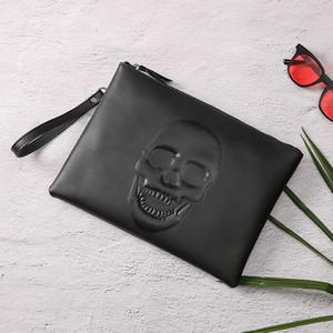 Schädel Mode Clutch-Mode-Männer Handtasche Einfache Umschlag-Beutel-Schädel-Halskette Clutch Retro Tasche