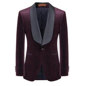 wine red color velvet Tuxedos Custom Made Men Wedding suit Blazers Plus Size wine red velvet jacket and black pants