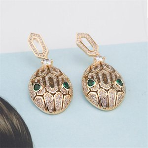 Luxury Fashion Earrings Green Eyes Snake Head Design Dangler Earring Women Gold Silver Rose Wedding Earrings Fine Jewelry