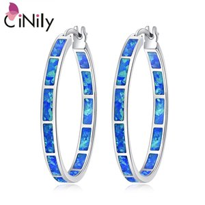 CiNily Blue Green Fire Opal Stone Hoop Earrings Silver Plated Rose Gold Color Big Round Circle Hip Hop Punk Party Jewelry Woman 200924