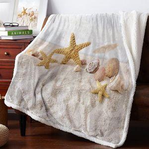 Winter Cashmere Blanket Sea Beach Starfish Blankets Flannel Fleece Throws Travel Winter Cover Wrap Anti-Allergy Anti-Static Micr