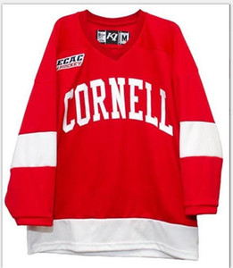 Real Men real Full embroidery Cornell Big Red Hockey Jersey 100% Embroidery Jersey or custom any name or number Jersey